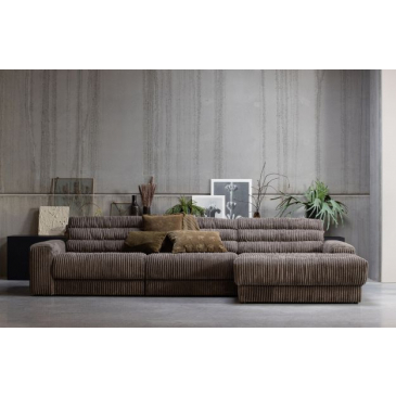 BePure Date Chaise Longue Rechts Grove Ribstof Mud