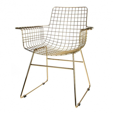 metal wire chair with arms