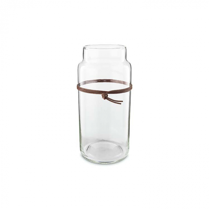 Vase Clear Class Leather Strap 20cm>