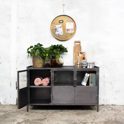 Industrieel Dressoir Glas Metal