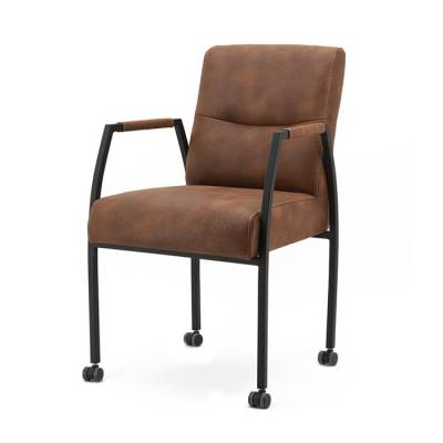 Chair Fiona with arm and wheels - cognac Cherokee