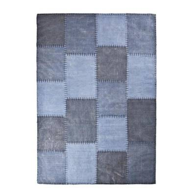 By-Boo Vloerkleed Patchwork Mono Blue 160x230