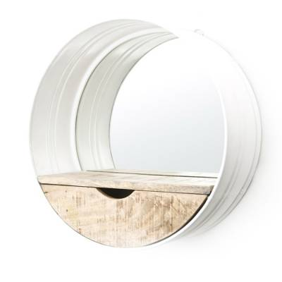 Round mirror with compartment white