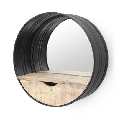 Round mirror with compartment black