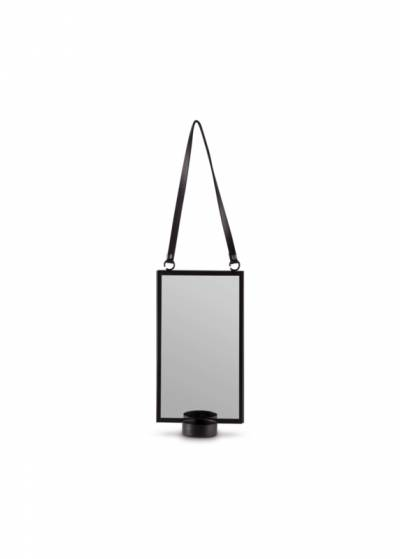 Vt Wonen Mirror with black leather robe 10x24 cm