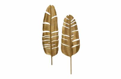Set van 2 - feathers metaal antique brass