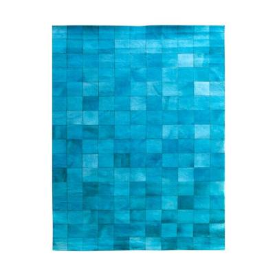 By-Boo Vloerkleed Patchwork Leather Turquoise
