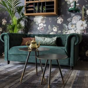 Dutchbone Bank Chester Velvet Dark Green