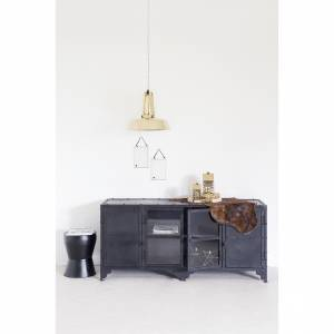 Tv Meubel Industrial Glass Zwart Large