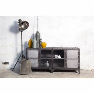Tv Meubel Industrial Glass Metal Small