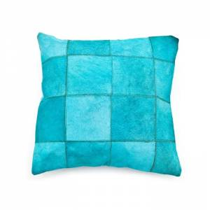 By-Boo Kussen Patchwork Leather Turquoise