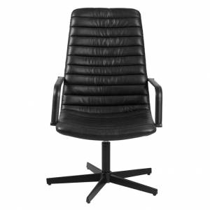 Lounge chair Dave black met arm