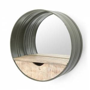 Round mirror with compartment green